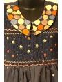 Robe smocks manches 3/4, en coton bleu à pois multicolore