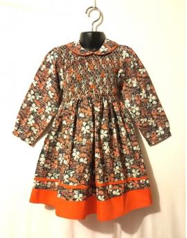 Robe smocks manches longues, en coton orange imprimé multicolore