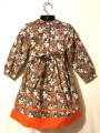 Robe smocks manches longues, en coton orange imprimé multicolore