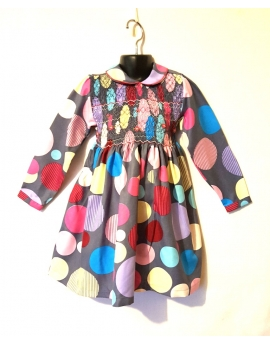 Robe smocks en coton gris multicolore manches longues