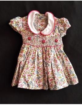 Robe smocks en coton petites fleurs multicolores pour poupée 28 cm et 36 cm