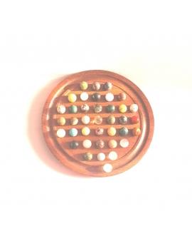 Mini jeu de solitaire en bois 14 cm, 37 billes en pierres minéraux