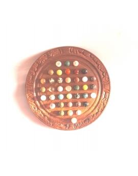 Mini jeu de solitaire en bois 16 cm, 37 billes en pierres minéraux