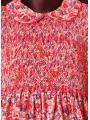 Robe smocks multicolore manches ballon en coton imprimé fleurs