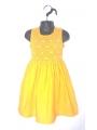 Robe smocks jaune en coton