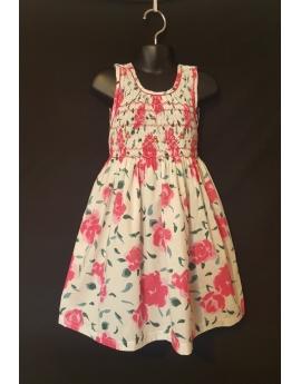Robe smocks blanc fleuri rose sans manches en coton