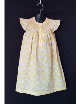 Chemise de nuit smocks en coton jaune imprimé