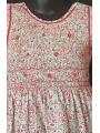 Robe smocks sans manches en coton imprimé petites fleurs rose