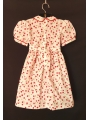 Robe smocks manches ballon en coton blanc motif cerise