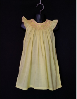 Chemise de nuit smocks en coton jaune, broderie rose