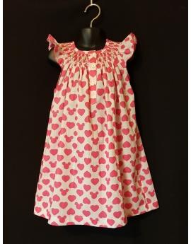 Chemise de nuit smocks en coton imprimé cœur rose fuchsia