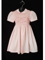 Robe smocks manches ballon en coton uni rose