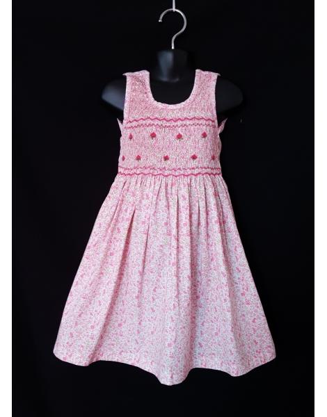 Robe smocks sans manches en coton imprimé fleurs rose