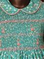 Robe smocks manches ballon en coton vert petites fleurs broderie rose
