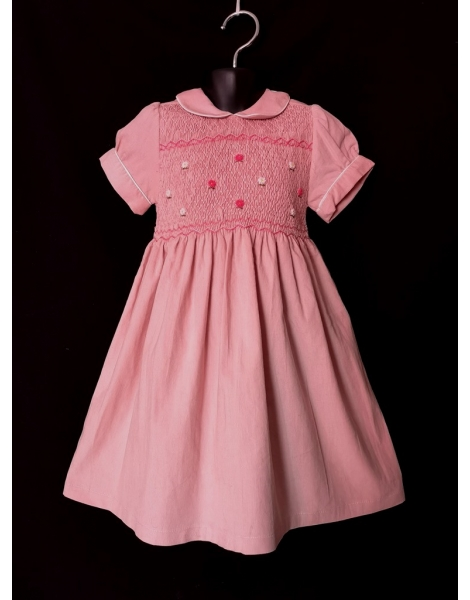 Robe smocks manches ballons en velours rose pâle