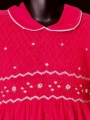 Robe smocks manches ballons en velours rouge