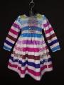 Robe smocks en coton rayures multicolore manches longues