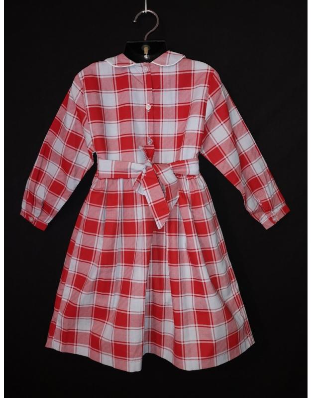 robe smocks en coton carreaux rouge et blanc tirant sur le bleu p le. Black Bedroom Furniture Sets. Home Design Ideas