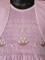 Robe smocks mauve clair avec manches 3/4 et boléro intégré en coton uni