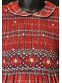 Robe smocks manches longues rouge à carreaux