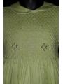 Robe smocks manches ballons en coton piqué vert pomme