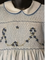 Robe smocks manches ballons en coton piqué bleu ciel