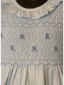 Robe smocks manches longues en coton piqué bleu ciel