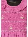 Robe smocks manches longues en coton piqué fuchsia