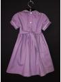 Robe smocks manches ballons en coton piqué violet
