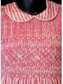 Robe smocks manches ballons en coton piqué rayure fuchsia imprimée