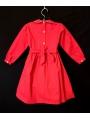 Robe smocks manches longues en coton piqué rouge