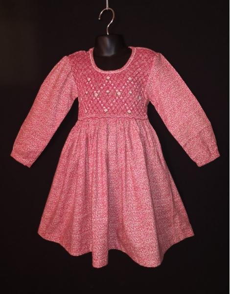 Robe smocks manches longues en tissu finette imprimé petites fleurs roses
