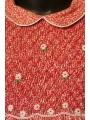 Robe smocks col Claudine en tissu finette imprimé petites fleurs roses