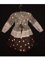 Robe smocks col Claudine en tissu imprimé gris et marron