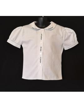 Chemise blanche brodée fleur bleue - manches courtes