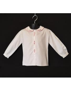 Chemise blanche brodée fleur rose - manches longues