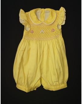Barboteuse manches volantes col Claudine en coton jaune motif fleurs