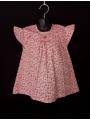 blouse smocks manches volantes en coton imprimé petites fleurs rouge et rose