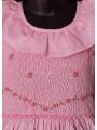 Robe smocks sans manches col volant en coton piqué rose