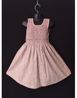 Robe sans manches en coton imprimé fleur beige rose
