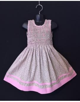 Robe sans manches en coton imprimé fleur beige bordure rose