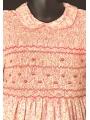 Robe smocks avec manches ballon en coton petites fleurs rose