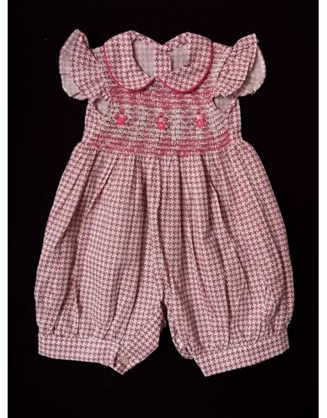Barboteuse manches volantes col Claudine en coton imprimé bois de rose