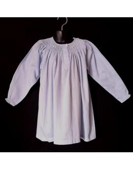 Chemise de nuit smocks manches longues en coton bleu ciel