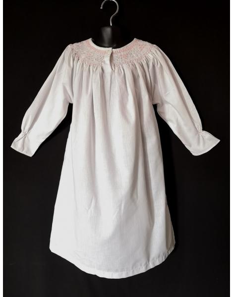 Chemise de nuit smocks longue, manches longues en coton blanc