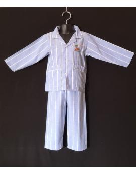Pyjama chemise pantalon en coton bleu ciel à rayures