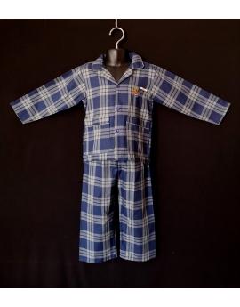 Pyjama chemise pantalon en coton carreaux bleu et gris