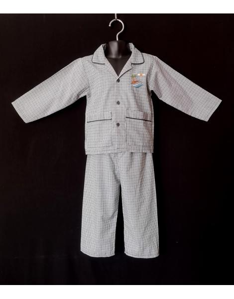 Pyjama chemise pantalon en coton blanc carreaux bleu foncé