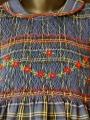 Robe smocks manches longues en coton carreaux bleu