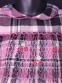 Robe smocks manches longues en coton carreaux rose noir